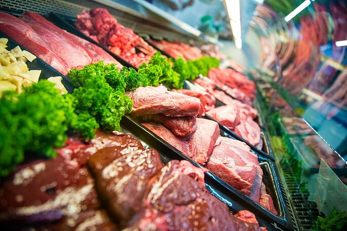 Fresh raw red meat at the butcher